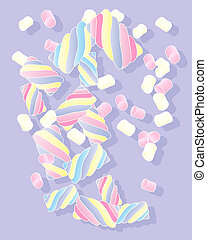 marshmallow candy - an illustration of colorful soft...