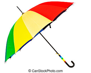 multicolored umbrella against the white background