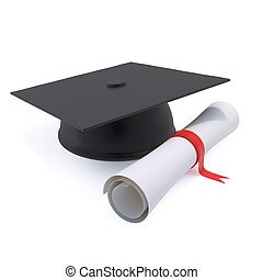3d Graduates mortar board and diploma - 3d render of a...