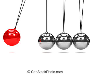 3d Newtons cradle in motion - 3d render of a Newtons Cradle...