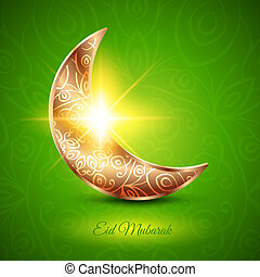 Golden Moon for Muslim Community Festival Eid Mubarak on...