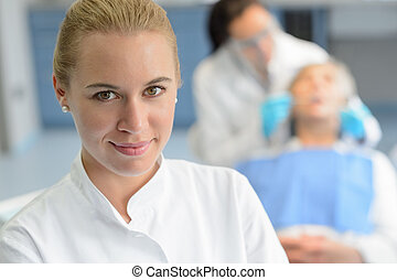 Dental assistant closeup dentist checkup patient - Dental...
