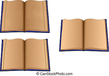 Three ruled books on white background