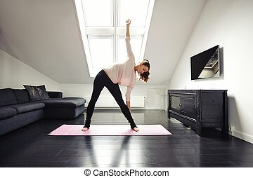 thuis, vrouw, Oefening, passen,  Stretching