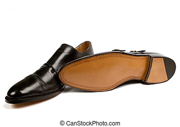 elegant mens shoes - Close-up of elegant mens shoes on white...