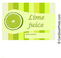 Lime juice label - vector illustration.