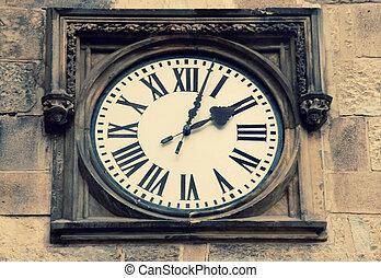 Medieval clock in Prague, Czech Republic