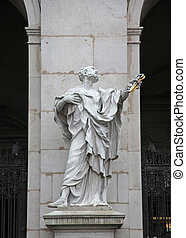 St. Peter statue at Salzburg Cathedral, Austria. Salzburg...