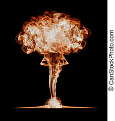 Nuclear explosion, isolated on black background Danger of...