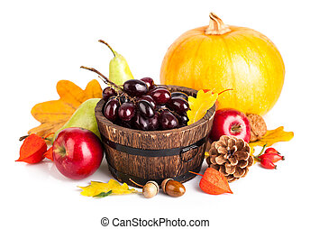 Autumnal harvest fruit and vegetables Isolated on white...