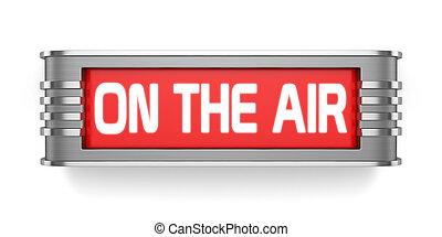 ON THE AIR sign - 3d render of ON THE AIR sign isolated on...