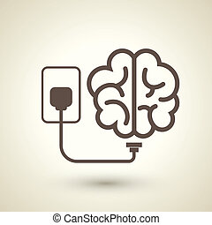 retro style brain plugged in icon isolated on beige...