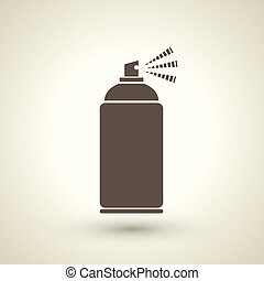 retro style spray bottle silhouette isolated on beige...