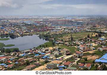 Phnom Penh - Suburb of Phnom Penh top view. Cambodia