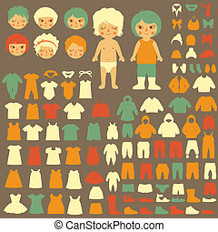 baby clothing silhouette - vector collection of baby icons,...