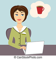 Secretary with mug of hot coffee - Vector illustration of an...