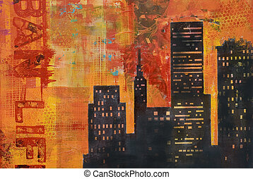 collage artwork - acrylic painting, artwork is created and...