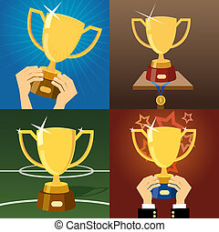 Set of four gold trophies or cups - Set of four vector gold...