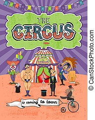 Vector circus poster design - Coming To Town - Vector circus...