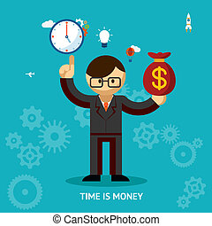 Time Is Money business concept with a nerdy businessman...
