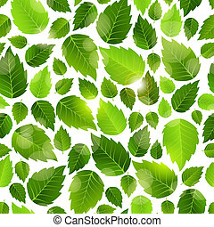 Fresh green leaves seamless background pattern