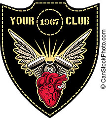 Motor club emblem - motor club emblem with winged engine...