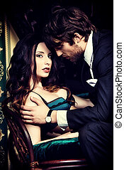 temptation - Beautiful passionate couple in love. Vintage...
