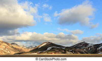 Landmannalaugar. Iceland. - Evening mountain time-lapse....