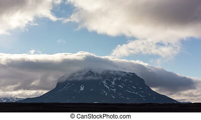 Volcano Herdubreid Iceland - Clouds moving over the volcano...