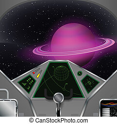 Spaceship cabin. Vector spacecraft interior with the Saturn...