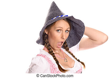 Attractive woman in a dirndl and party hat - Attractive...