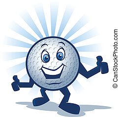 Golf Ball Character - Cartoon golf ball mascot with arms and...