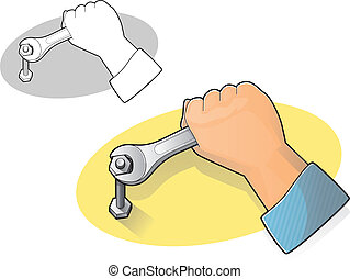Wrench and Hand Icon - Illustration of a hand using an open...