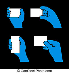 Set of Hands Holding Different Business Cards. Vector