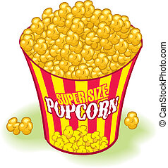 Popcorn - Supersized Movie Theater Popcorn. Yellow and red,