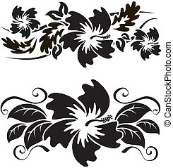 Hibiscus 2 - A pair of black and white hawaian hibiscus...