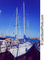 Sea bay with yachts.