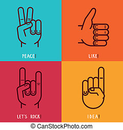 Vector set of outline icons - gestures and signs - like,...