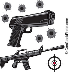 Firearms - Two firearms with bullet holes and target.