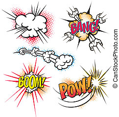 Cartoon Explosions - Various colorful cartoon explosion...