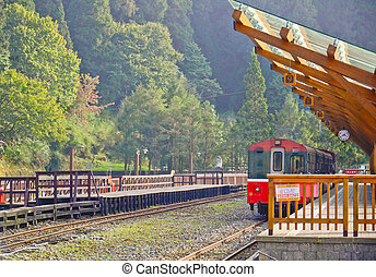 wooden railway station in Alishan national park,Taiwan