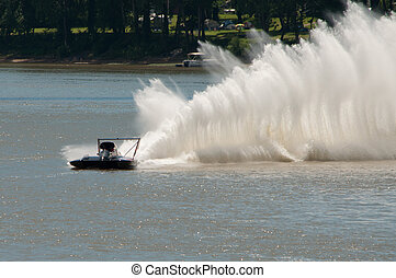 Madison, Indiana - July 5, 2014: Cal Phipps drives the U-7...