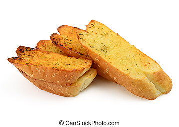 Garlic bread on white background