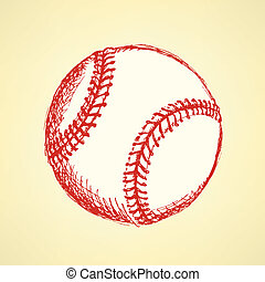 Sketch cute baseball ball, vector background - Sketch cute...