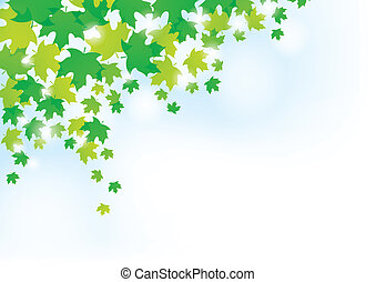 Green Leaves Background - A background design with random...