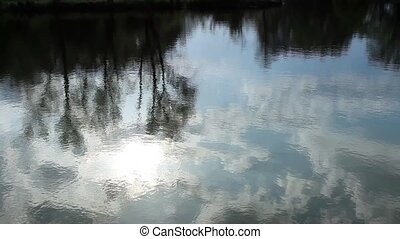 Reflection of clouds in the river.
