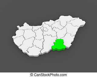 Map of Csongrad Hungary 3d