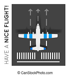 Plane on the runway at the airport. Top view - plane on the...