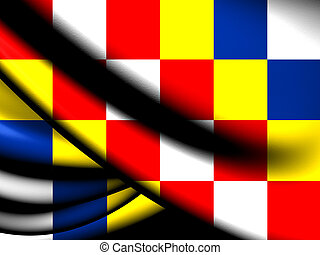 Flag of Antwerp Province, Belgium. Close Up.