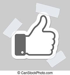 thumb up applique, vector illustration for your design